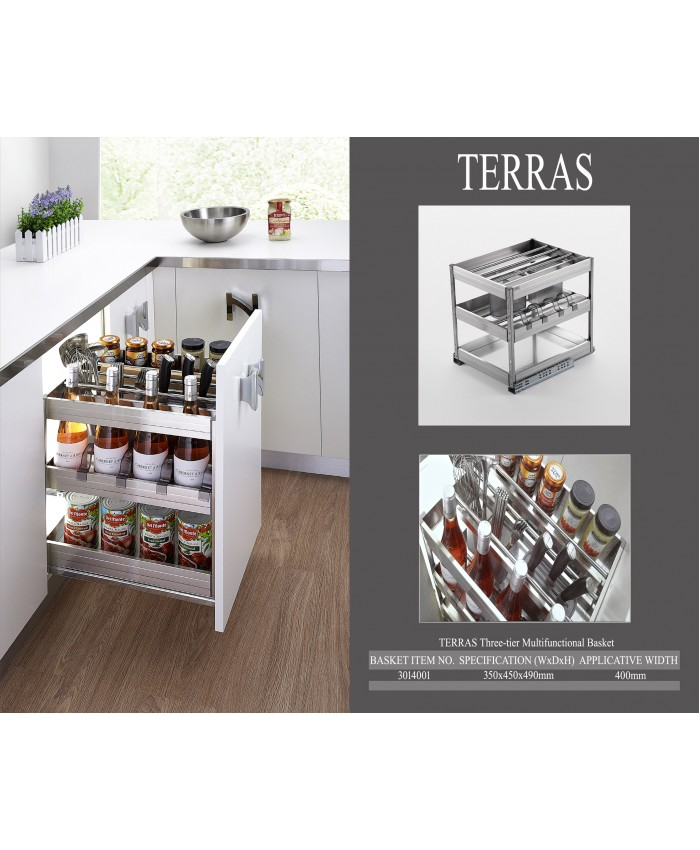 Terras 3013002 Three-tier Multifunctional Basket