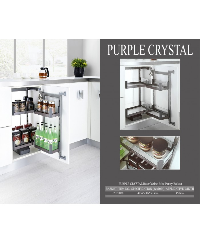 Purple Crystal Base Cabinet Mini Pantry Rollout